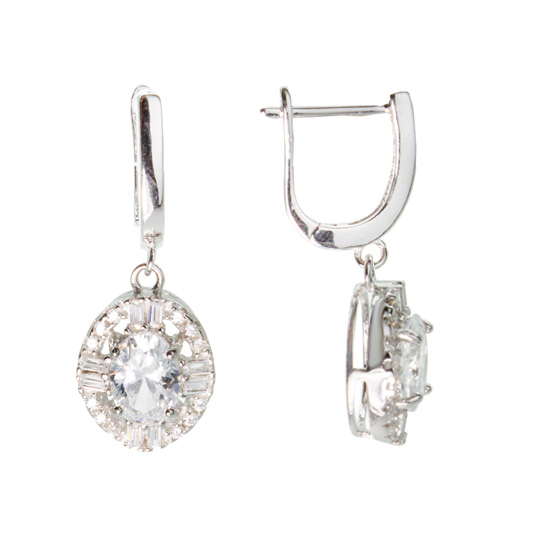 White CZ Rhodium plated Earrings