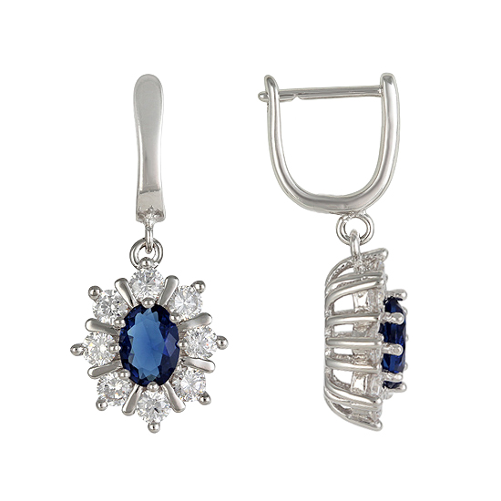 Sterling Silver Navy Blue CZ Earrings Rhodium plated