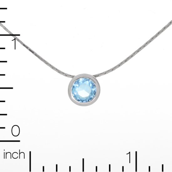 Blue Circle Necklace Rhodium plated 18 in