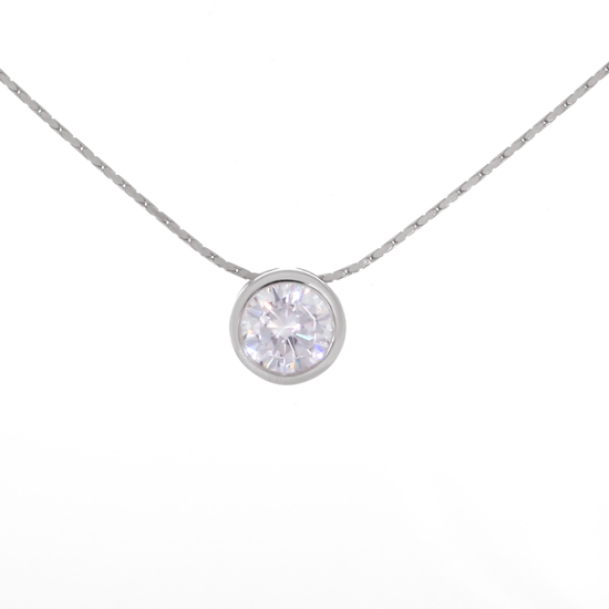 White Circle Necklace Rhodium plated 18 in