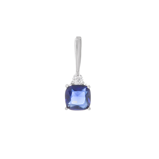 Navy Blue CZ Rhodium plated Pendant