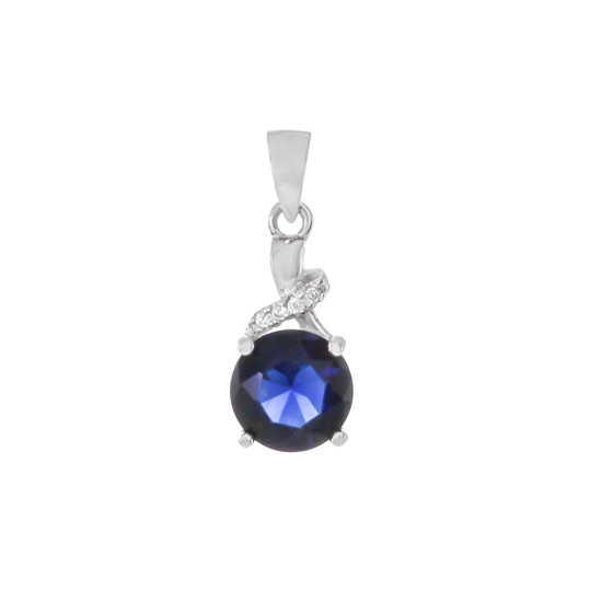 Royal Blue CZ Rhodium plated Pendant