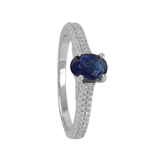 Royal Blue & White CZ Rhodium plated Ring