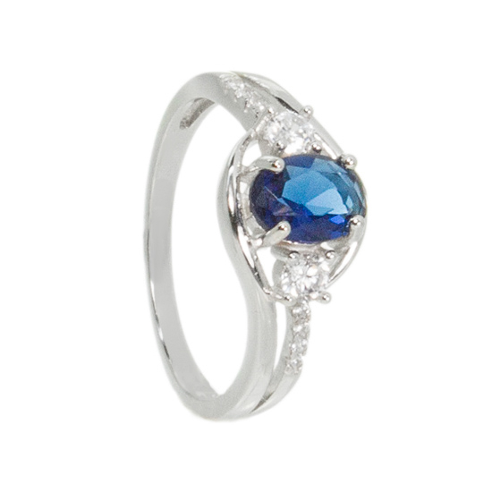 Sterling Silver Navy Blue CZ Ring Rhodium plated
