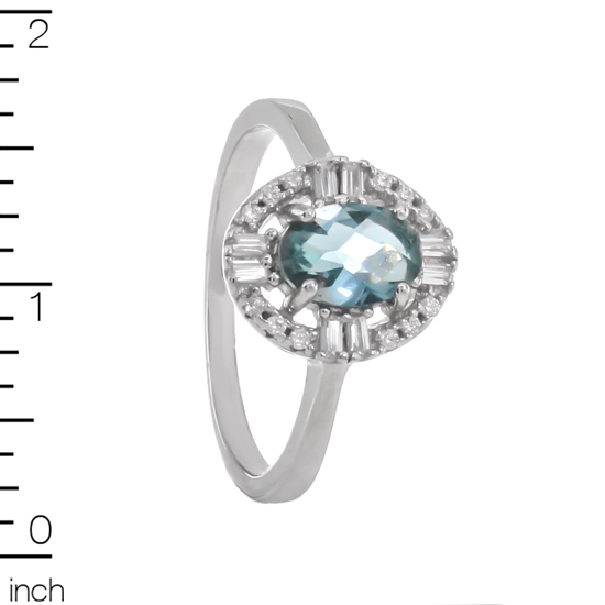 Blue & White CZ Rhodium plated Ring