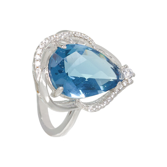 Light Blue Drop Ring with Rhodium plating
