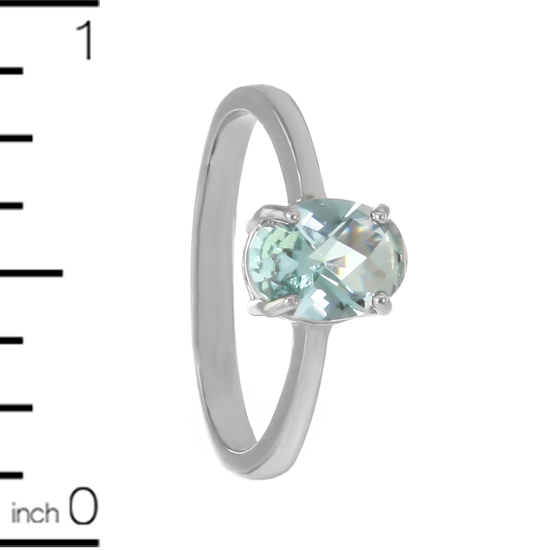Aquamarine Crystal Ring Rhodium plated
