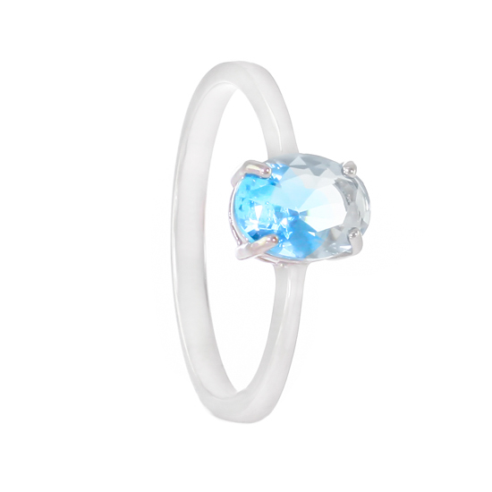 Blue Crystal Rhodium plated Ring