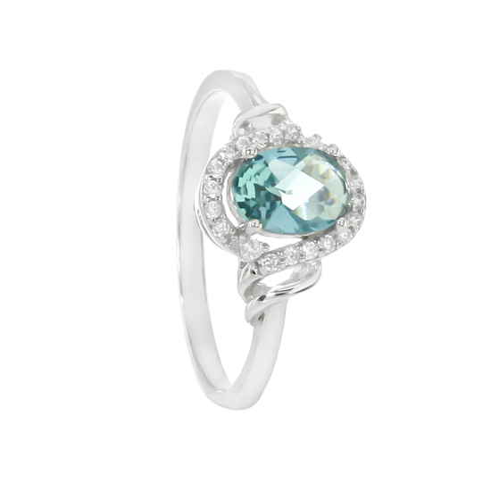Sterling Silver Blue CZ Ring Rhodium plated